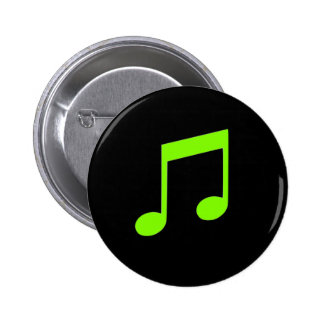 Lime Green Music 6 Cm Round Badge