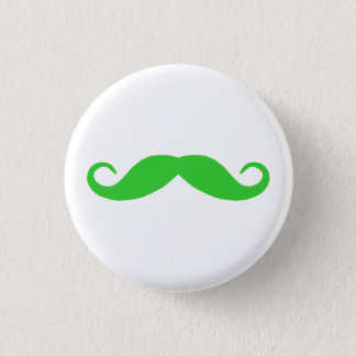 Lime Green Mustache 3 Cm Round Badge