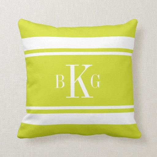 Lime Green Nautical Stripes Custom Monogram Throw Pillows