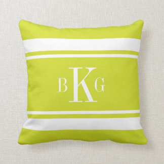Lime Green Nautical Stripes Custom Monogram Throw Pillow