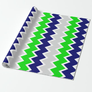 Lime Green, Navy and grey chevron Wrapping paper