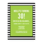Lime Green on Black and White Stripe Party 13 Cm X 18 Cm Invitation Card