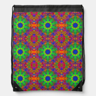 Lime Green Orange and Purple Stars Mandala Drawstring Bag