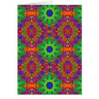 Lime Green Orange and Purple Stars Mandala Greeting Card