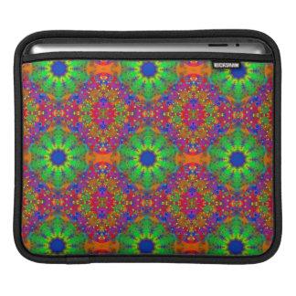 Lime Green Orange and Purple Stars Mandala iPad Sleeve