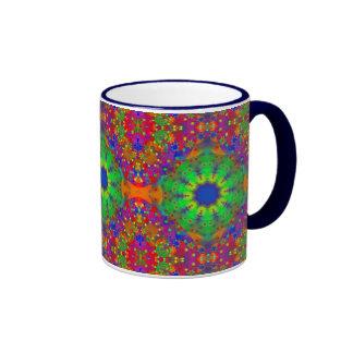 Lime Green Orange and Purple Stars Mandala Coffee Mug