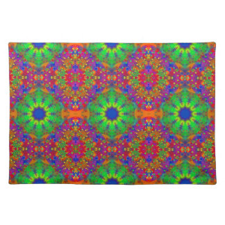Lime Green Orange and Purple Stars Mandala Placemat