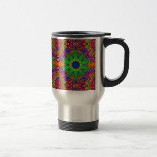 Lime Green Orange and Purple Stars Mandala Travel Mug
