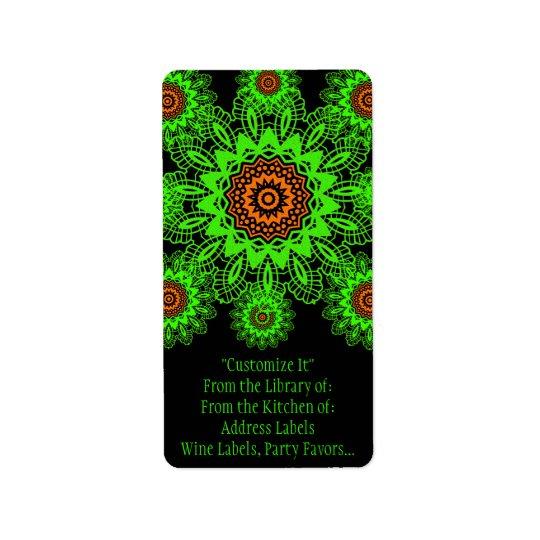 Lime Green Orange Black Lace Doily Mandala Snowfla Address Label