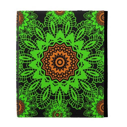 Lime Green Orange Black Lace Doily Mandala Snowfla iPad Folio Covers