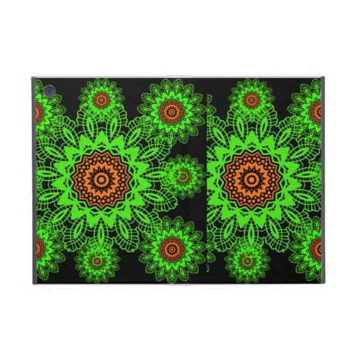 Lime Green Orange Black Lace Doily Mandala Snowfla Case For iPad Mini