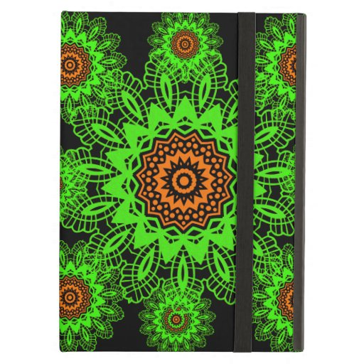Lime Green Orange Black Lace Doily Mandala Snowfla iPad Cover