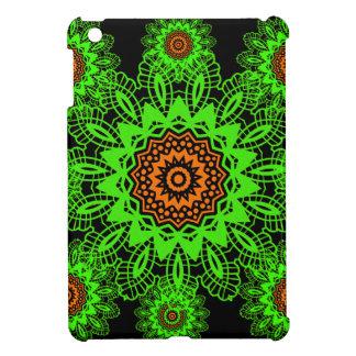 Lime Green Orange Black Lace Doily Mandala Snowfla iPad Mini Cases