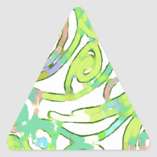 Lime Green Palsley Design Triangle Sticker