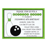 Lime Green Party Down the Lane Bowling Party Personalised Invitation
