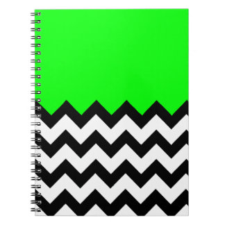 Lime Green Pattern On Large Zigzag Chevron Notebooks