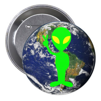 Lime Green Peace Sign Alien & Earth Round Button
