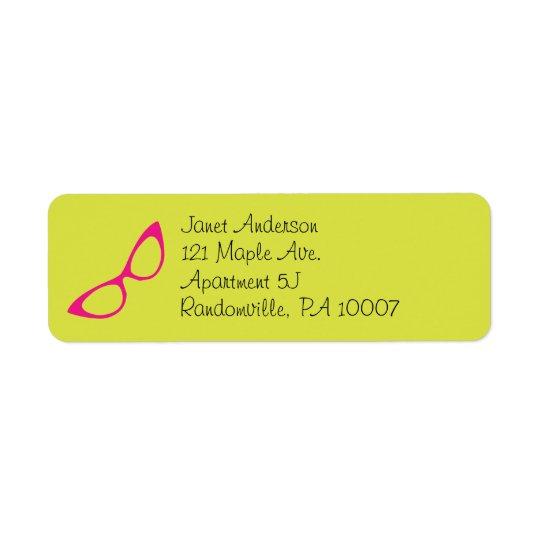 Lime Green & Pink Cat Eye Glasses Address Labels