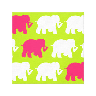 lime green & pink elephants wrapped canvas canvas print