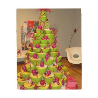 Lime Green & Pink Jingle Bowls Christmas Tree Wood Print