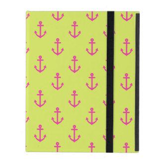Lime Green Pink Nautical Anchor Pattern iPad Folio Case