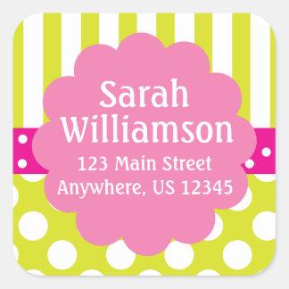 Lime Green Pink Stripes Polka Dots Address Sticker