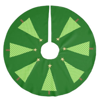 Lime green polka dot modern Christmas tree Brushed Polyester Tree Skirt