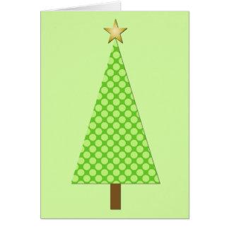 Lime green polka dot modern Christmas tree Greeting Card