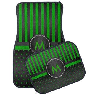 Lime Green Polka Dots and Black Stripes Car Mat