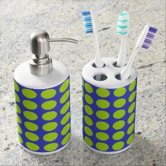 Lime Green Polka Dots Blue Bathroom Set