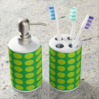 Lime Green Polka Dots Green Bathroom Set