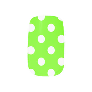 Lime green polka dots minx nail art
