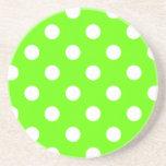 Lime green polka dots nail design for the spring coaster
