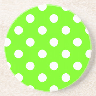 Lime green polka dots nail design for the spring coaster