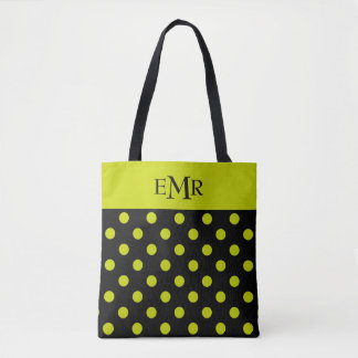Lime Green Polka Dots on Black Monogram Tote Bag