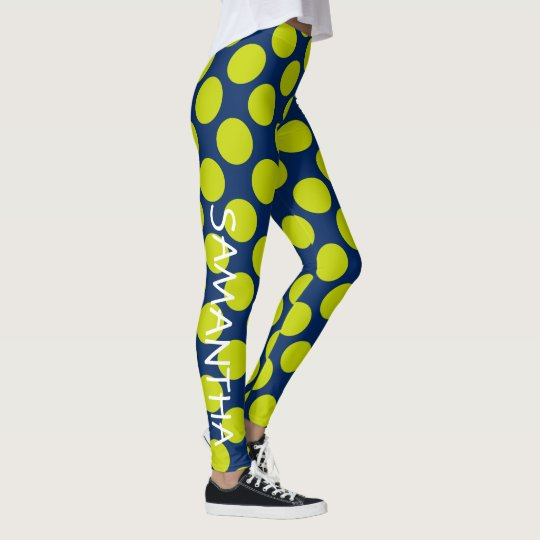 Lime Green Polka Dots on Navy Blue Personalised