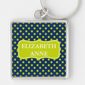 Lime Green Polka Dots on Navy Blue Personalized Key Ring