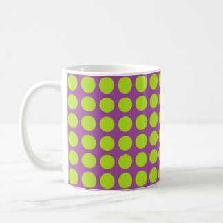 Lime Green Polka Dots Purple Coffee Mug