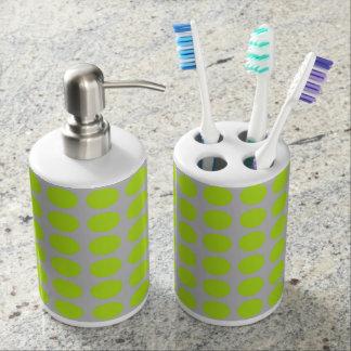 Lime Green Polka Dots Silver Bathroom Set