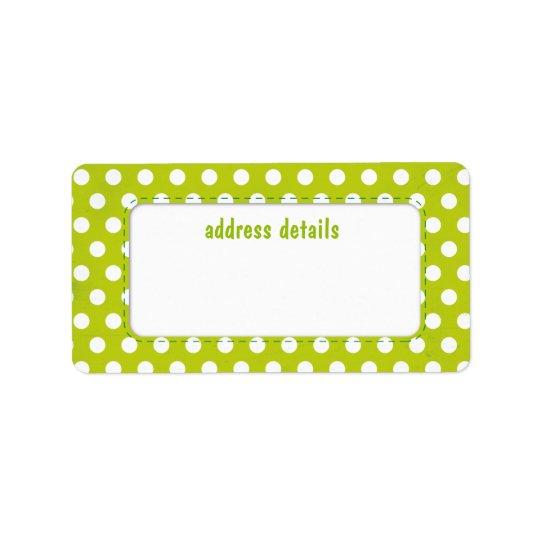 Lime green Polkadot Label