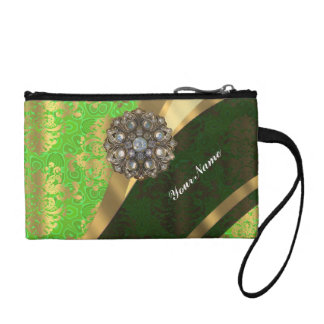 Lime green pretty girly vintage damask pattern coin purse
