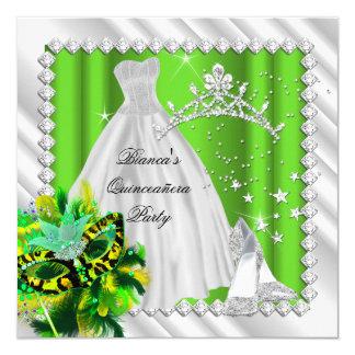 Lime Green Quinceanera 15th Masquerade Party 13 Cm X 13 Cm Square Invitation Card