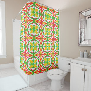 Lime Green Red And Yellow Astral 7812 Shower Curt Curtain