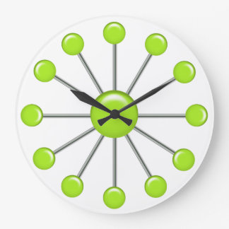 Lime Green Retro Balls Wall Clock