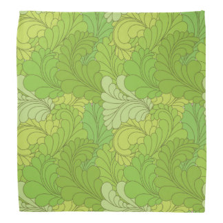 Lime Green Retro Floral Paisley Feathers Bandana