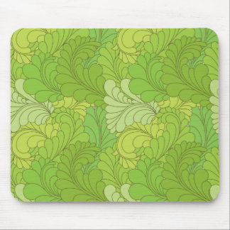 Lime Green Retro Floral Paisley Feathers Mousepads