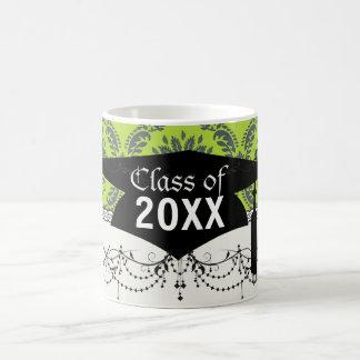 lime green royal damask pattern graduation coffee mugs