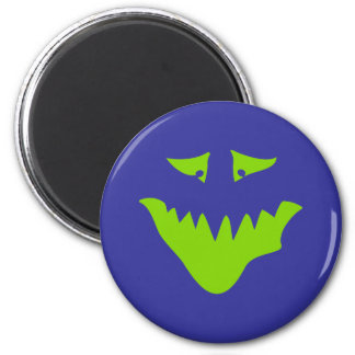 Lime Green Scary Face. Monster. 6 Cm Round Magnet