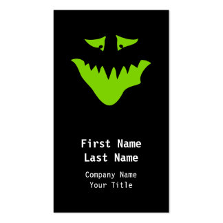 Lime Green Scary Face. Monster. Pack Of Standard Business Cards