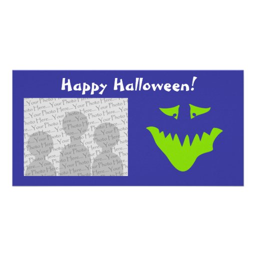 Lime Green Scary Face. Monster. Photo Card Template